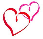 Twee rode harten. Royalty-vrije Stock Foto