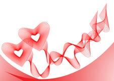 Twee rode harten, die door linten worden verbonden Stock Foto