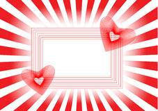 Twee rode harten in een mooi frame en stralen Royalty-vrije Stock Afbeelding