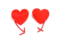 Twee rode harten in liefde Royalty-vrije Stock Foto's