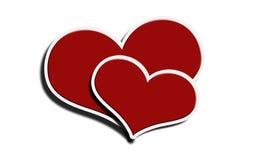 Twee rode harten op een witte achtergrond Stock Foto