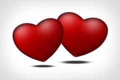 Twee rode harten - symbool van liefde stock illustratie