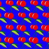 Twee rode kersen met bladeren op blauw naadloos patroon als achtergrond Stock Foto's