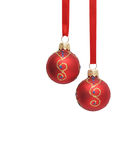 Twee rode Kerstmisbal Stock Afbeelding