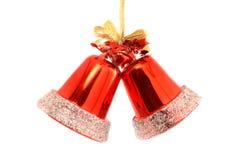 Twee rode Kerstmisklokken Royalty-vrije Stock Afbeelding
