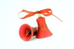 Twee rode Kerstmisklokken Stock Foto's