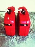Twee Rode Koffers Royalty-vrije Stock Foto