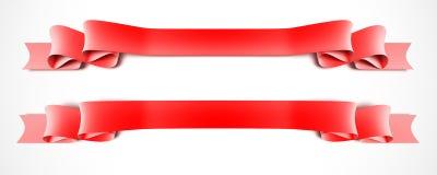 Twee rode linten Stock Foto
