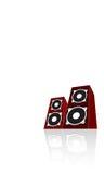Twee rode luidsprekers. Vector vector illustratie