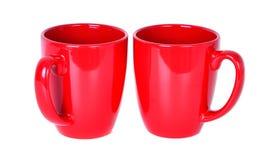 Twee porselein rode mokken stock foto afbeelding 44457752 - Aardewerk rode keuken ...