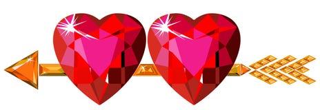 Twee rode robijnrode harten die door de pijl van de Cupido worden geslagen Stock Afbeeldingen