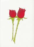 Twee rode rozen Royalty-vrije Stock Foto's