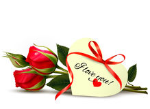 Twee rode rozen met I houden van u nota nemen van vector illustratie