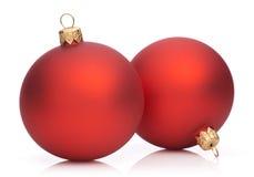 Twee Rode Snuisterijen van Kerstmis   Royalty-vrije Stock Afbeelding