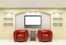 Twee rode stoelen met lijst met LCD TV Royalty-vrije Stock Foto