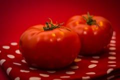 Twee rode tomaten die op de rode theedoek en de rode achtergrond liggen Stock Afbeelding