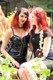 Twee rode vrienden van het haarmeisje Royalty-vrije Stock Afbeeldingen