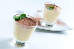 Twee romige vanilledesserts royalty-vrije stock foto