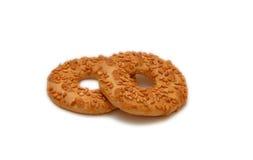 Twee ronde koekjes royalty-vrije stock afbeeldingen
