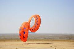 Twee ronde vliegers Royalty-vrije Stock Foto's