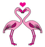 Twee roze flamingo's in liefde Stock Fotografie
