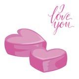 Twee roze harten Geïsoleerd pictogram op witte achtergrond Vlakke stijlillustratie Ik houd van u die van letters voorzien stock illustratie