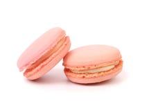 Twee roze macaroncakes. Royalty-vrije Stock Afbeeldingen