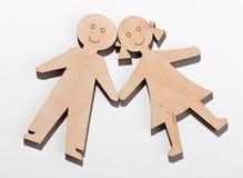 Twee rustieke houten kinderen Stock Foto's