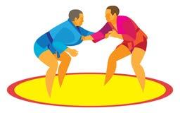 Twee sambo vechters beginnen een duel op het tapijt Stock Foto