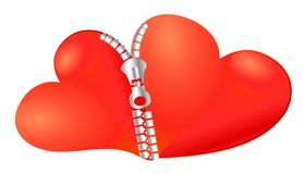 Twee samen bij aangesloten harten Stock Illustratie