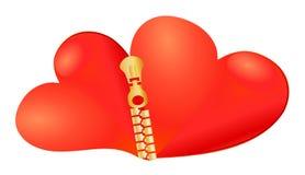 Twee samen bij aangesloten harten Royalty-vrije Illustratie