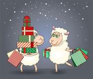 Twee schapen bij Kerstmis het winkelen Royalty-vrije Stock Afbeeldingen