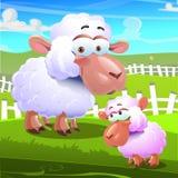 Twee schapenbeeldverhaal op landbouwbedrijfachtergrond Royalty-vrije Stock Afbeelding