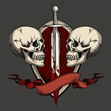 Twee schedels met tatoegering stock illustratie