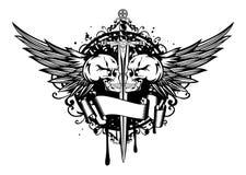Twee schedels, vleugels en zwaard Stock Fotografie