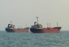 Twee schepen bij anker Stock Foto's