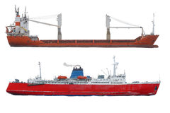 Twee schepen op een witte achtergrond Stock Fotografie