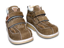 Twee schoenen van de baby Stock Afbeeldingen