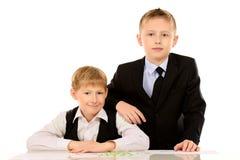 Twee schooljongens Royalty-vrije Stock Afbeelding