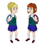 Twee schoolmeisjes in eenvormig Royalty-vrije Stock Foto
