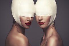 Twee schoonheidsdames stock fotografie