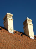 Twee schoorstenen Royalty-vrije Stock Foto