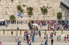 Twee secties van de Westelijke Muur in Jeruzalem, Israël Stock Fotografie