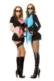 Twee sexy jonge vrouwen. Geïsoleerde stock foto's
