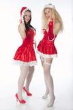 Twee sexy meisjes die van de Kerstman pret hebben Royalty-vrije Stock Afbeelding
