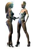 Twee sexy vreemde vrouwen spreken Stock Foto's
