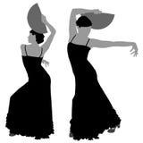 Twee silhouetten van vrouwelijke flamencodanser stock illustratie