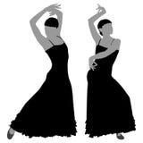 Twee silhouetten van vrouwelijke flamencodanser Royalty-vrije Stock Afbeeldingen