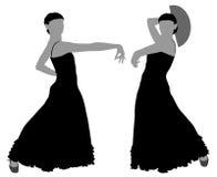 Twee silhouetten van vrouwelijke flamencodanser Royalty-vrije Stock Foto