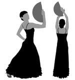 Twee silhouetten van vrouwelijke flamencodanser Royalty-vrije Stock Foto's